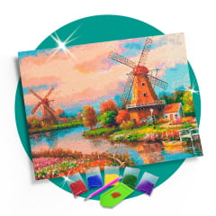Kit Pintura com Diamantes | Moinhos da Holanda - 60 x 42 cm - Diamante Redondo | Diamond Painting 5D DIY
