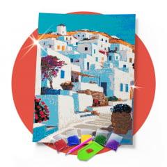 Kit Pintura com Diamantes | Mykonos Grécia 42x60cm - Diamante Redondo | Diamond Painting 5D DIY