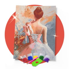 Kit Pintura com Diamantes | Tela Bailarina Clássica - 42 x 60cm - Diamante Redondo | Diamond Painting 5D DIY
