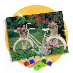 Kit Pintura com Diamantes | Tela Bicicleta na Floresta - 42 x 30 cm - Diamante Redondo | Diamond Painting 5D DIY
