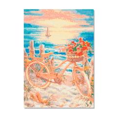 Kit Pintura com Diamantes   Tela Bicicleta no Pôr do Sol - 42 x 60 cm - Diamante Redondo   Diamond Painting 5D DIY
