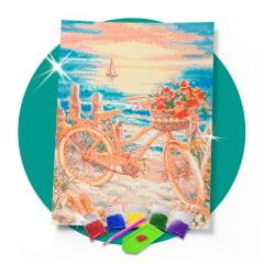 Kit Pintura com Diamantes | Tela Bicicleta no Pôr do Sol - 42 x 60 cm - Diamante Redondo | Diamond Painting 5D DIY