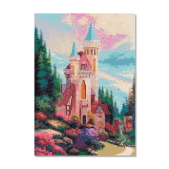 Kit Pintura com Diamantes | Tela Castelo Encantado - 42 x 60 cm - Diamante Redondo | Diamond Painting 5D DIY
