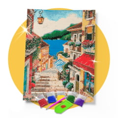 Kit Pintura com Diamantes | Tela Encantos de Portugal - 42 x 60 cm - Diamante Redondo | Diamond Painting 5D DIY