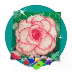 Kit Pintura com Diamantes | Tela Flor de Cravo - 21 x 21 cm - Diamante Redondo | Diamond Painting 5D DIY
