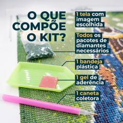 Kit Pintura com Diamantes | Tela Praia com Palmeiras - 21 x 30 cm - Diamante Redondo | Diamond Painting 5D DIY