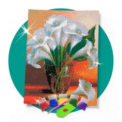 Kit Pintura com Diamantes | Vaso de Copos de Leite 30x42cm - Diamante Redondo | Diamond Painting 5D DIY