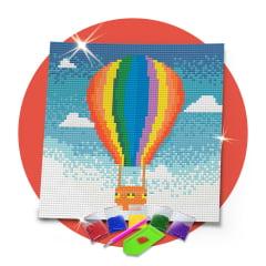 Kit Pintura com Diamantes | Tela Balão ao Céu - 21 x 21 cm - Diamante Redondo | Diamond Painting 5D DIY