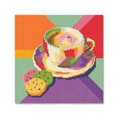 Tela Café Artístico - 30 x 30 cm - Diamante Redondo