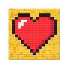 Tela Coração - 21 x 21 cm - Diamante Redondo