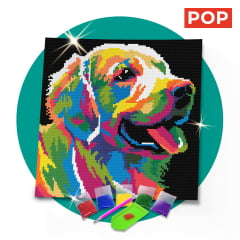 Kit Pintura com Diamantes | Tela Dog Colorido - 30 x 30 cm - Diamante Redondo | Diamond Painting 5D DIY