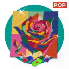 Tela Flor Vibrante 30 x 30 cm - Diamante Redondo