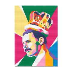 Kit Pintura com Diamantes | Tela Freddie Mercury - 30 x 42 cm - Diamante Redondo | Diamond Painting 5D DIY