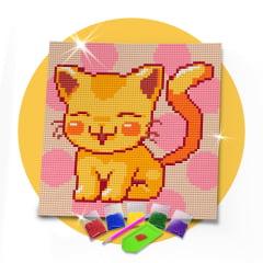Tela Gatinho Feliz - 21 x 21 cm - Diamante Redondo