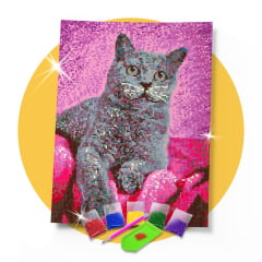 Kit Pintura com Diamantes | Tela Gato Charmoso - 30 x 42 cm - Diamante Redondo | Diamond Painting 5D DIY