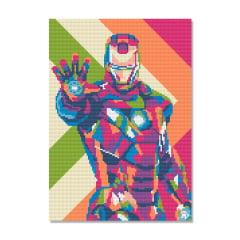 Tela Homem de Ferro - 30 x 42 cm - Diamante Redondo