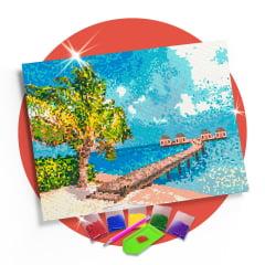 Kit Pintura com Diamantes | Tela Imagem Paradisíaca - 42 x 30 - Diamante Redondo | Diamond Painting 5D DIY