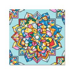 Tela Mandala Arco-Íris - 40 x 40 cm - Diamante Redondo
