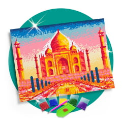 Kit Pintura com Diamantes | Tela Taj Mahal - 42 x 30 cm - Diamante Redondo | Diamond Painting 5D DIY