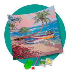 Pintura Com Diamantes - Tela Barquinhos a Beira Mar - 38 x 48 cm