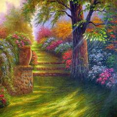 Pintura Com Diamantes - Tela Bosque Florido - 38 x 38 cm