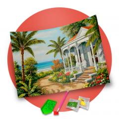 Pintura Com Diamantes - Tela Casa de Veraneio - 48 x 38 cm