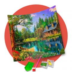 Pintura Com Diamantes - Tela Casa dos Sonhos - 48 x 48 cm