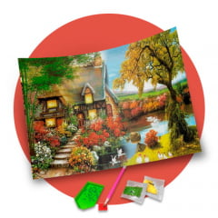 Pintura Com Diamantes - Tela Casa no Lago - 48 x 38 cm