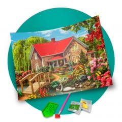 Pintura Com Diamantes - Tela Casinha do Telhado Vermelho - 48 x 38 cm