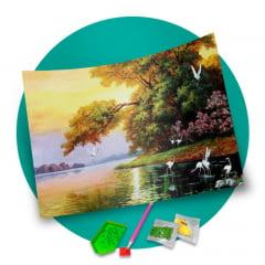 Pintura Com Diamantes - Tela Lago Iluminado - 58 x 48 cm