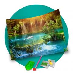 Pintura Com Diamantes - Tela Lagoa Azul - 48 x 38 cm