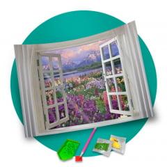 Pintura Com Diamantes - Tela Natureza na Janela - 48 x 38 cm