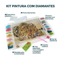 Pintura Com Diamantes - Tela Riacho Florido - 58 x 48 cm  - Diamante Redondo
