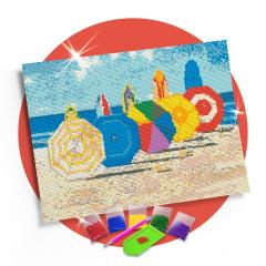 Kit Pintura com Diamantes | Tela Beira da Praia - 42 x 30 cm - Diamante Redondo | Diamond Painting 5D DIY