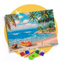 Kit Pintura com Diamantes | Tela Canoas na areia - 42 x 30 cm - Diamante Redondo | Diamond Painting 5D DIY