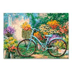 Tela Bicicleta nas Flores - 42 x 30 cm - Diamante Redondo