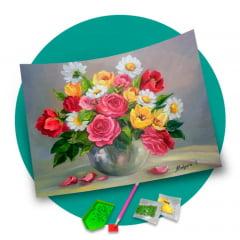 Pintura Com Diamantes - Tela Arranjo de Flores - 48 x 38 cm