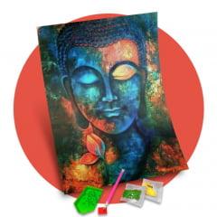 Pintura Com Diamantes - Tela Buda Esotérico - 38 x 48 cm - Diamante Redondo