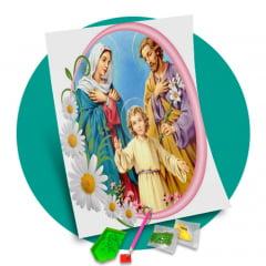Pintura Com Diamantes - Tela Divina Família - 48 x 58 cm - Diamante Redondo