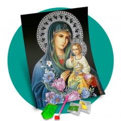 Pintura Com Diamantes - Tela Divina Proteção - 48 x 58 cm - Diamante Redondo