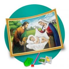 Pintura Com Diamantes - Tela Menino Jesus - 48 x 68 cm